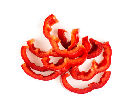 bell pepper: Juicy red bell pepper cut up and isolated on white