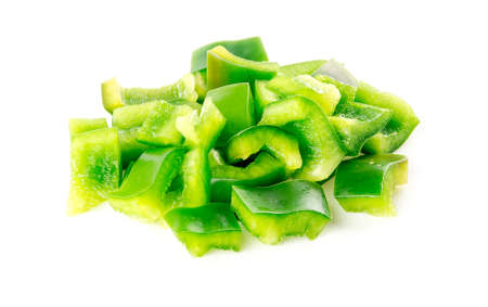Chopped up pieces of green capsicum pepper