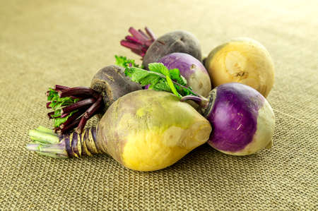 rutabaga: Variety of wholesome turnips and red beets against country style hessian texture