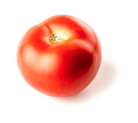 Plump tomato veggie on white background Imagens