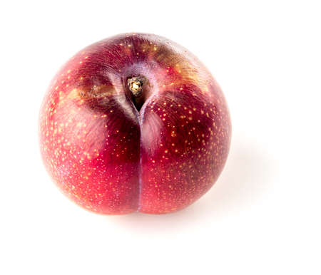 Overripe brownish red plum isolated on white Фото со стока