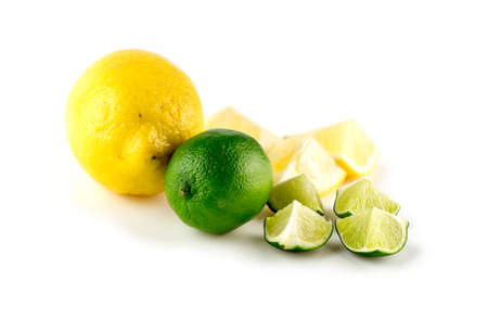 Bright natural colors of lemons and limes Imagens