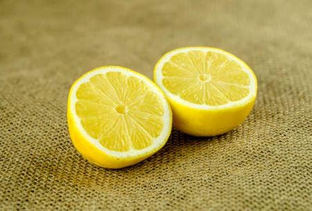 Macro of small lemon halves