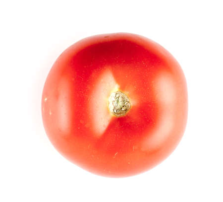 Top of juicy red tomatoe against white background Imagens