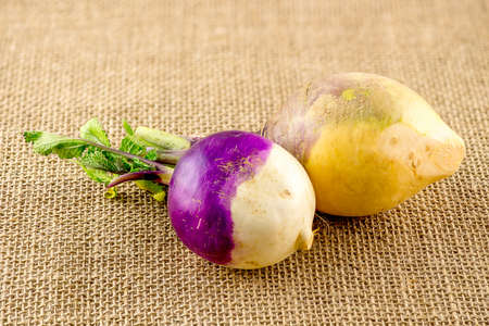 Turnip and swede against hessian