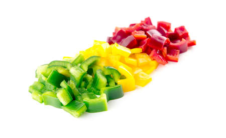 Beautiful colors of chopped capsicum bell peppers