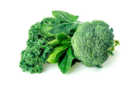 the greens: Healthy greens with broccoli, spinach and kale Stock Photo