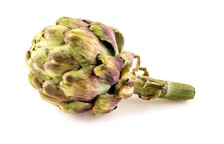 Overripe artichoke head isolated on white Imagens