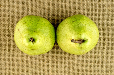 Aerial view of two green pears with brown stems Imagens