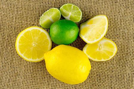 Aerial view of arrangement of sour citrus fruits