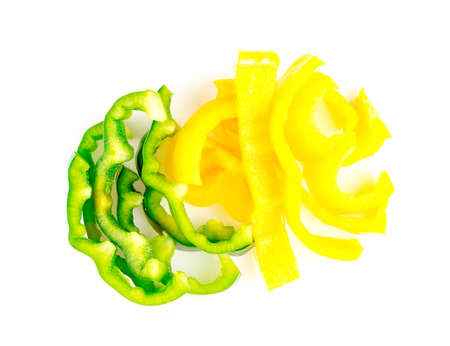 Bright and vibrant green and yellow colours of capsicum peppers Imagens