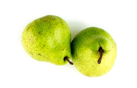 Vibrant green pears with spotty pear skin