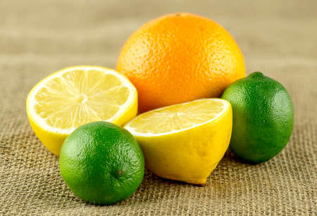 Arrangement of selection of sweet and sour citrus fruits Imagens