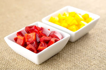 Spicy red pepper and mild tasting yellow peppers
