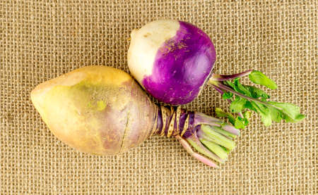 Aerial view of raw swede and turnip