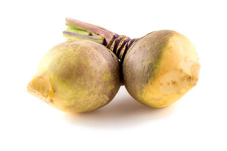 rutabaga: Bulbous swede turnip root plants on white Stock Photo