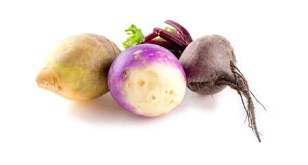 rutabaga: Different types of bulbous taproot vegetables isolated on white
