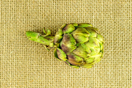 cluster house: Top view of ripe artichoke blossom on hessian background