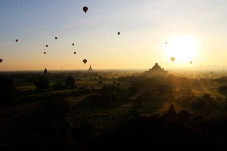 balloon over pagoda fields, Bagan , Myanmar photo