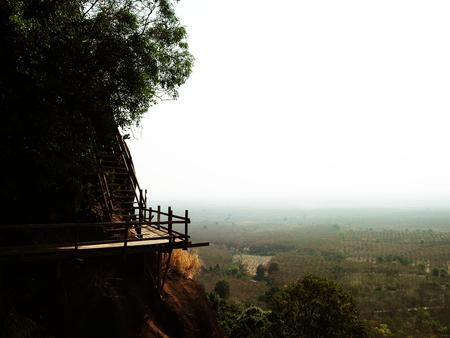 boardwalk trail: Wood bridge on mountain Thailand
