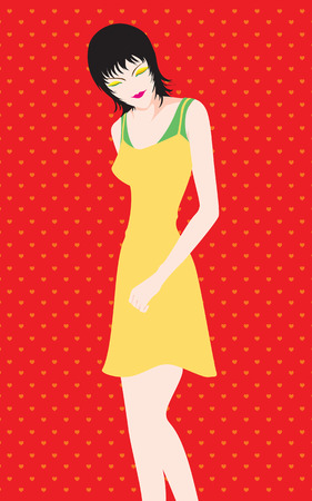 yellow dress: Beautiful woman with short hair in Yellow dress vector Illustration