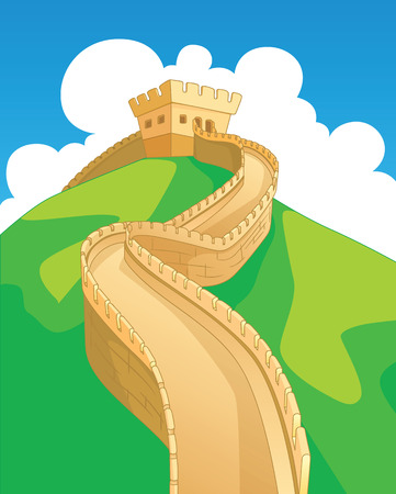china wall: Great Wall in China, landmarks. Vector illustration