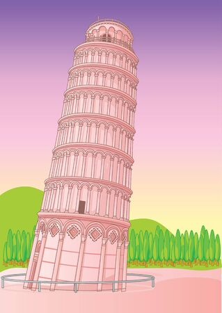 leaning tower: Leaning Tower of Pisa Italy. illustration vector Illustration