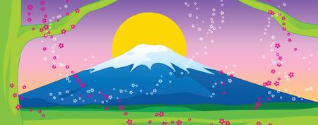fuji mountain: Fuji mountain and sakura on Sunset. Vector Illustration