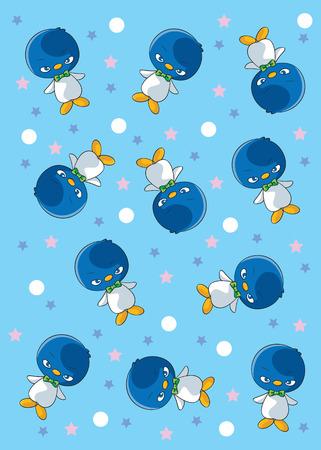 patronen Penguins met ster. Vector Illustratie Stock Illustratie