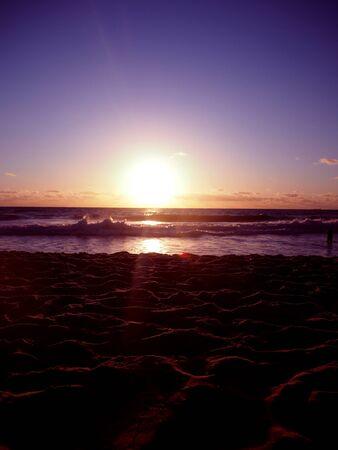 perth: Sunset scarborough beach of perth Stock Photo