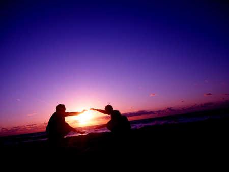 australia beach: Colorful Sunset Australia Beach Ocean