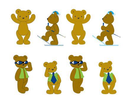 stocky: brown bear many action, Cartoon vector illustration Stock Photo