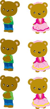 stocky: brown bear boy and girl, Cartoon vector illustration