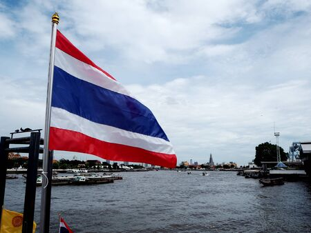 swaying: Thailand flag was swaying as the wind