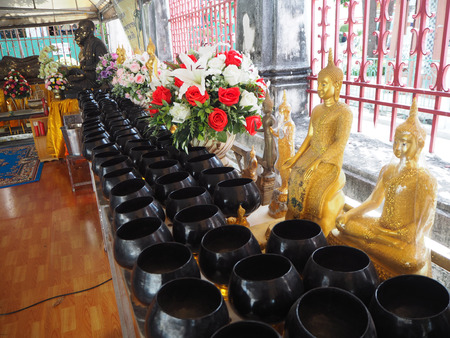 dishy: brass bowl for donation at Temple