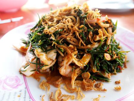 Salad leaves Suaeda maritima and shrimp Thai seafood Stock Photo