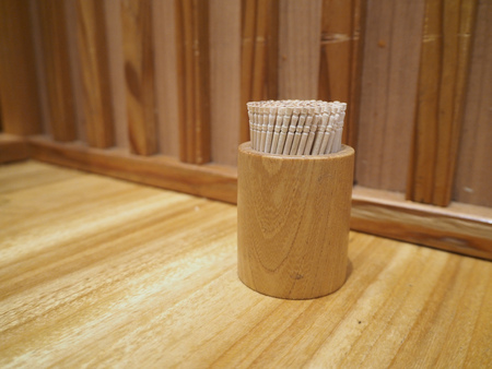 Toothpick in the box on a table, wood Stok Fotoğraf