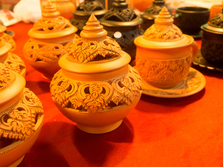 Thai traditional clay pottery in Market