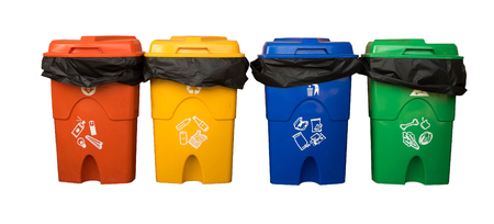 dumpster: Three colorful recycle bins isolated on white background with the clipping path. Selection path. Stock Photo