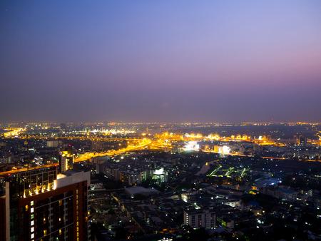 Traffic in Bamgkok city at night Thailand Stock Photo