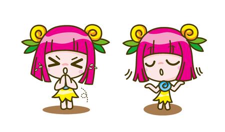 Collection de bande dessinée de fille, illustration vectorielle Banque d'images - 76869690