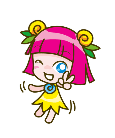 girl kids cartoon collection, Vector illustration Illustration