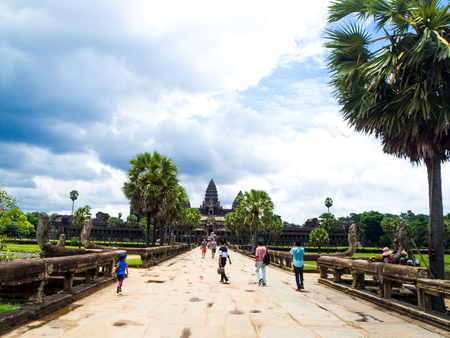 Angkor Wat, part of Khmer temple, ancient lanmark, Siem Reap, Cambodia.