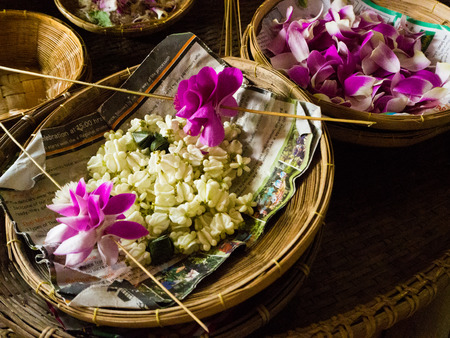 malai: making flower garland that called Malai in Thai.