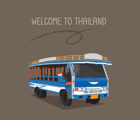 公共バスやプーケットの木製のタクシー。