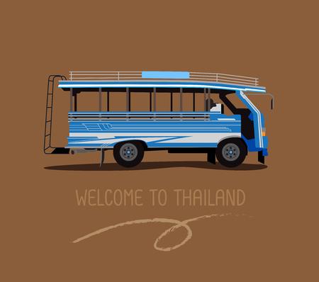 公共バスやタイのプーケットで木製のタクシー