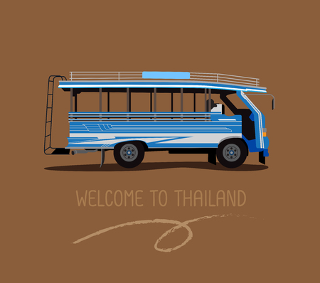 A public bus or wood Taxi in Phuket Thailand
