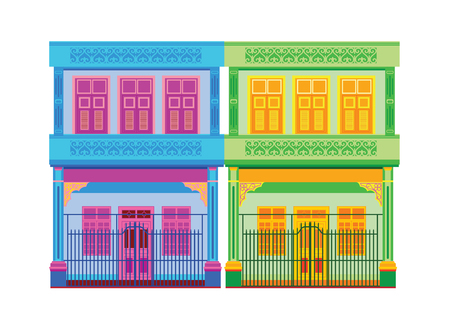 Colorful Old Town vector illustration.