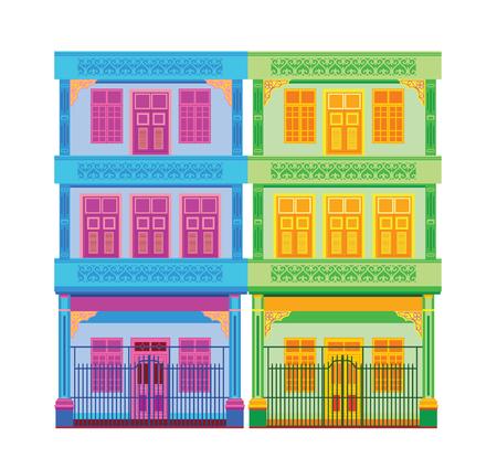 Kleurrijke oude stad vectorillustratie. Stock Illustratie
