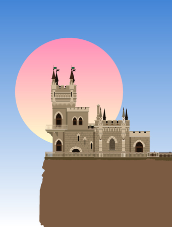 The castle Swallows Nest near Yalta, Ukraine - Russia, vector illustration Illustration
